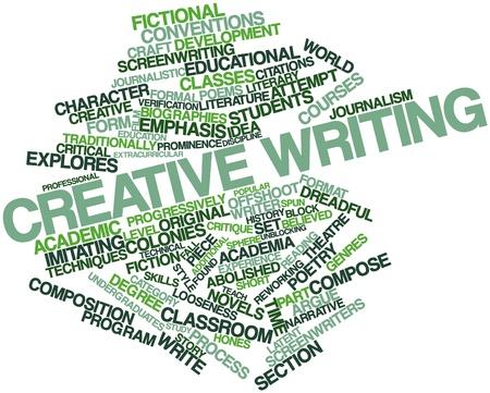 Abstraktes Wort-Wolke für Kreatives Schreiben mit entsprechenden Tags und Begriffe