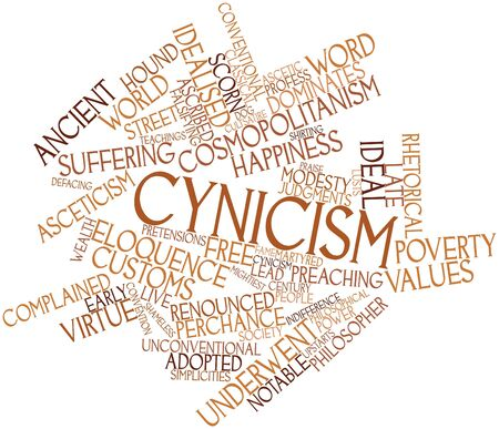 Abstract word cloud for Cynicism with related tags and terms Banco de Imagens