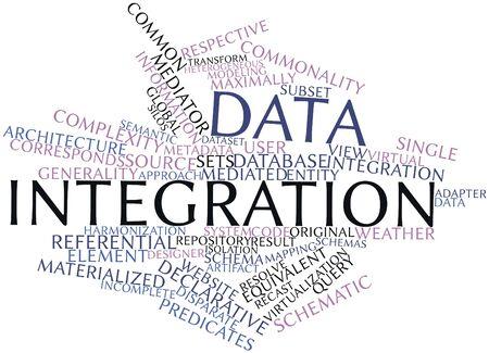 関連タグと用語とのデータ統合の抽象的な単語の雲 写真素材