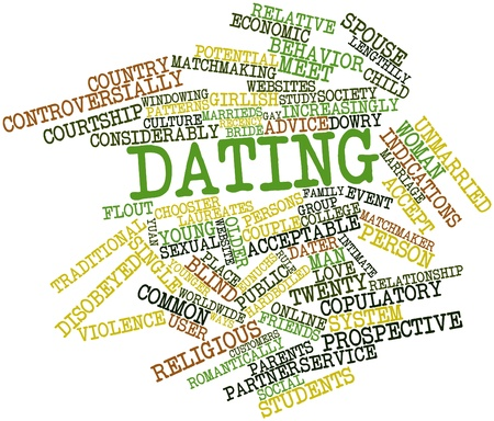 matchmaking: Abstract word cloud for Dating with related tags and terms Stock Photo