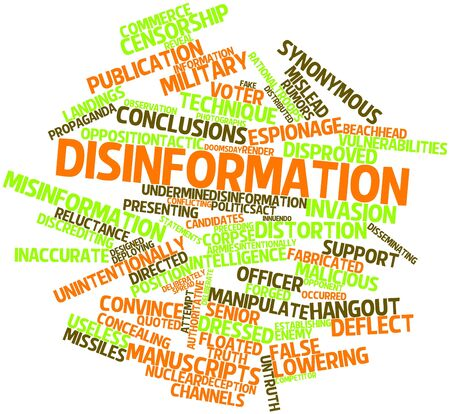 vulnerabilities: Abstract word cloud for Disinformation with related tags and terms Stock Photo