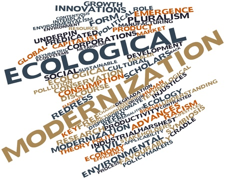political and social issues: Abstract word cloud for Ecological modernization with related tags and terms
