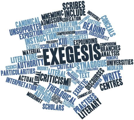signifier: Abstract word cloud for Exegesis with related tags and terms