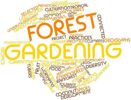 temperate: Abstract word cloud for Forest gardening with related tags and terms