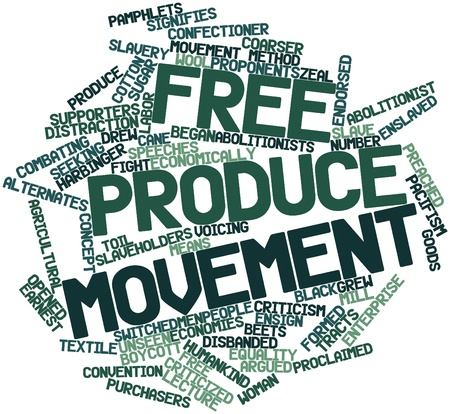 Abstract word cloud for Free produce movement with related tags and terms Stock Photo