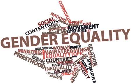 Abstract word cloud for Gender equality with related tags and terms Archivio Fotografico