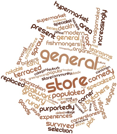 general store: Abstract word cloud for General store with related tags and terms Stock Photo