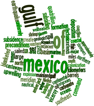 sedimentary: Abstract word cloud for Gulf of Mexico with related tags and terms Stock Photo