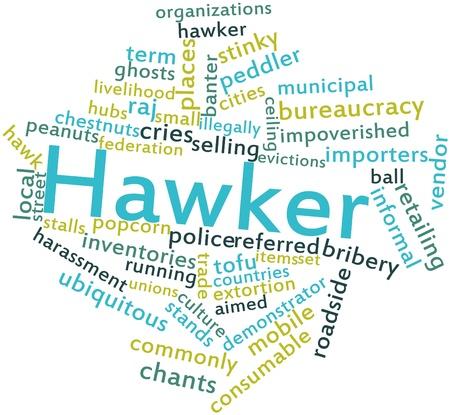 synoniem: Abstract woordwolk voor Hawker met gerelateerde tags en voorwaarden