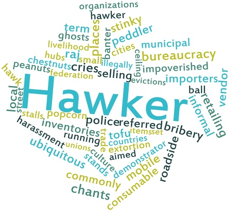 synonymous: Abstract word cloud for Hawker with related tags and terms Stock Photo