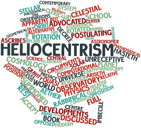 treatise: Abstract word cloud for Heliocentrism with related tags and terms Stock Photo