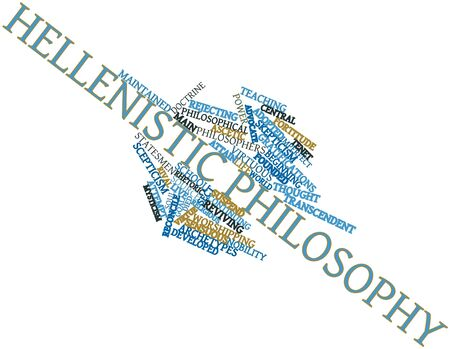 tenet: Abstract word cloud for Hellenistic philosophy with related tags and terms