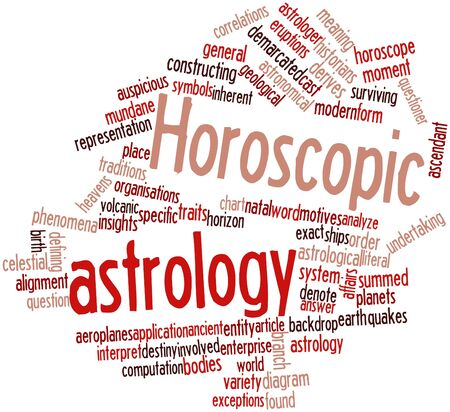 exceptions: Abstract word cloud for Horoscopic astrology with related tags and terms Stock Photo
