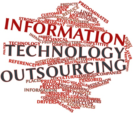 rampant: Abstract word cloud for Information technology outsourcing with related tags and terms Stock Photo