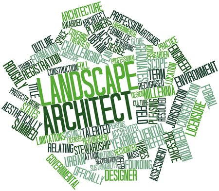 attain: Abstract word cloud for Landscape architect with related tags and terms