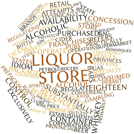 monopolies: Abstract word cloud for Liquor store with related tags and terms