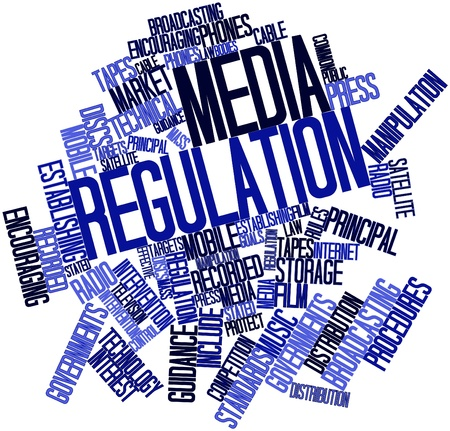 intervention: Abstract word cloud for Media regulation with related tags and terms