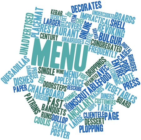 stating: Abstract word cloud for Menu with related tags and terms