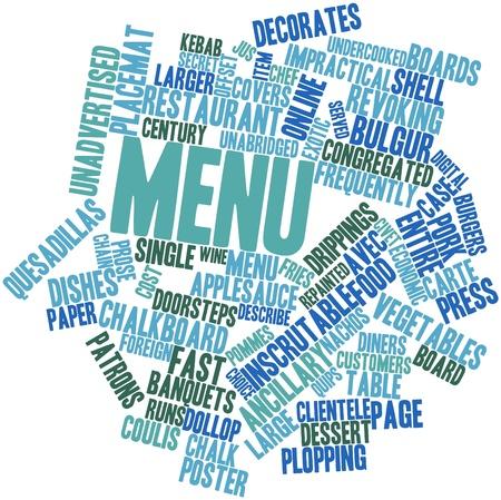 prosa: Word cloud astratto a Menu con etichette e termini correlati