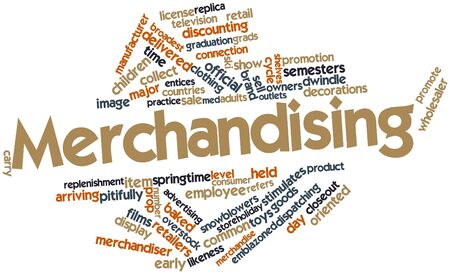 discounting: Abstract word cloud for Merchandising with related tags and terms Stock Photo