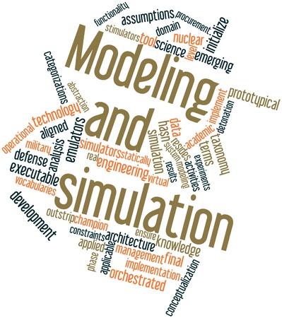 Abstraktes Wort-Wolke für Modellierung und Simulation mit verwandte Tags und Begriffe