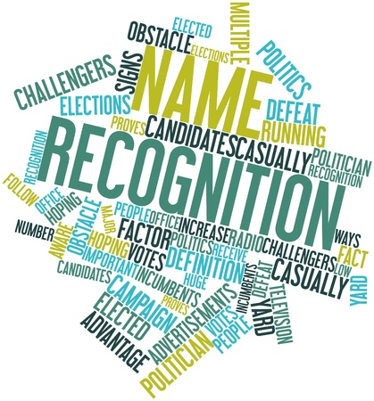 Abstract word cloud for Name recognition with related tags and terms Banco de Imagens