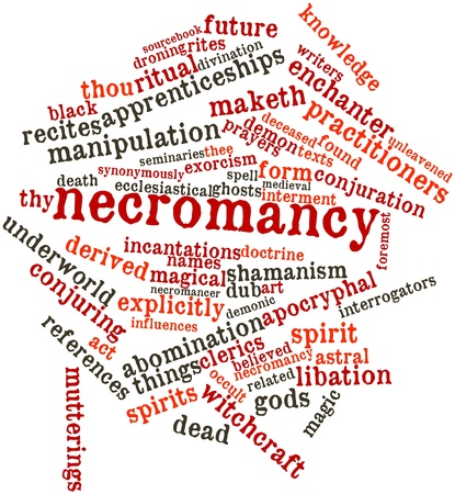 the art of divination: Abstract word cloud for Necromancy with related tags and terms Stock Photo