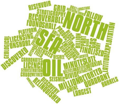 Abstract word cloud for North Sea oil with related tags and terms photo