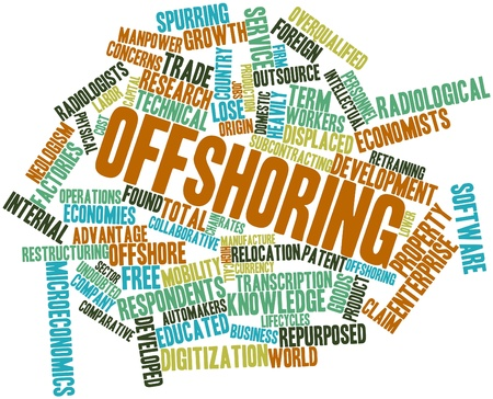 Abstract word cloud for Offshoring with related tags and terms