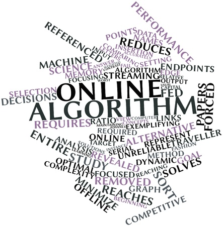Abstract word cloud for Online algorithm with related tags and terms Stock Photo - 17397660