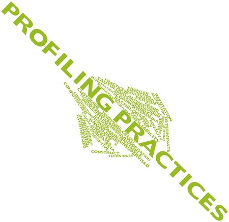 deductive: Abstract word cloud for Profiling practices with related tags and terms