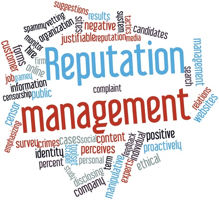 Abstract word cloud for Reputation management with related tags and terms photo