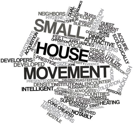 credited: Abstract word cloud for Small house movement with related tags and terms