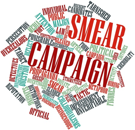 intentional: Abstract word cloud for Smear campaign with related tags and terms
