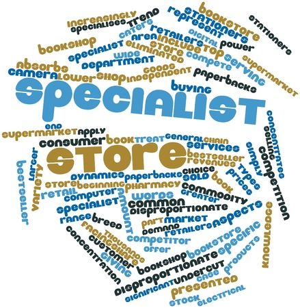 general store: Abstract word cloud for Specialist store with related tags and terms