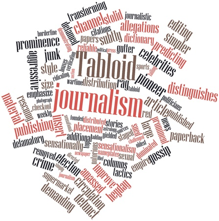 Abstract word cloud for Tabloid journalism with related tags and terms