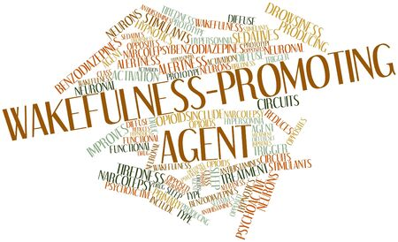 reduces: Abstract word cloud for Wakefulness-promoting agent with related tags and terms Stock Photo