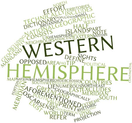 exceeds: Abstract word cloud for Western Hemisphere with related tags and terms