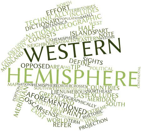 excludes: Word cloud astratto per emisfero occidentale con tag e termini correlati