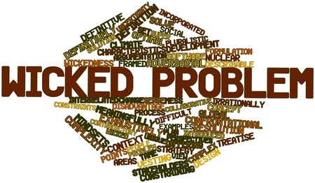optimal: Abstract word cloud for Wicked problem with related tags and terms