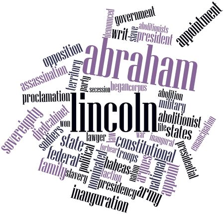 Abstract word cloud for Abraham Lincoln with related tags and terms Stock Photo