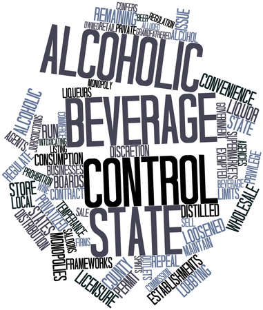onward: Abstract word cloud for Alcoholic beverage control state with related tags and terms Stock Photo