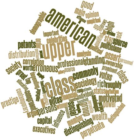 Abstract word cloud for American upper class with related tags and terms