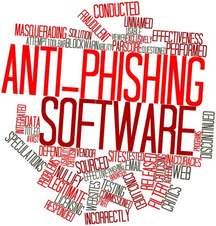 obtained: Abstract word cloud for Anti-phishing software with related tags and terms Stock Photo