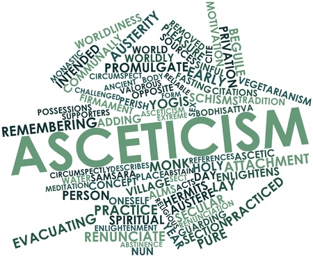 evacuating: Abstract word cloud for Asceticism with related tags and terms Stock Photo