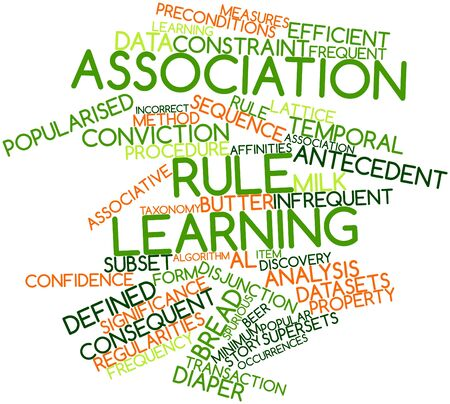 Abstract word cloud for Association rule learning with related tags and terms Stock Photo - 17427495