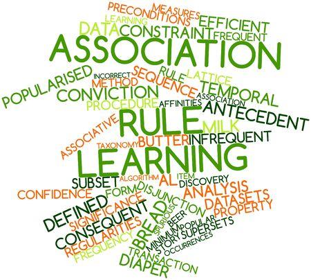 observational: Nube palabra abstracta por regla Asociaci�n de aprendizaje con las etiquetas y t�rminos relacionados Foto de archivo