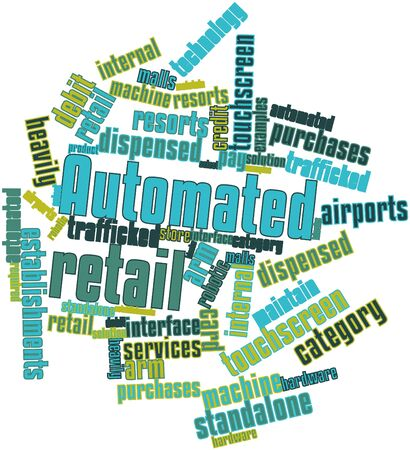 establishments: Abstract word cloud for Automated retail with related tags and terms