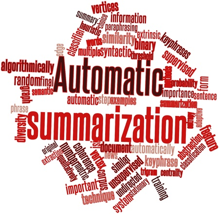 Abstract word cloud for Automatic summarization with related tags and terms