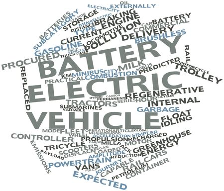 braking distance: Abstract word cloud for Battery electric vehicle with related tags and terms Stock Photo